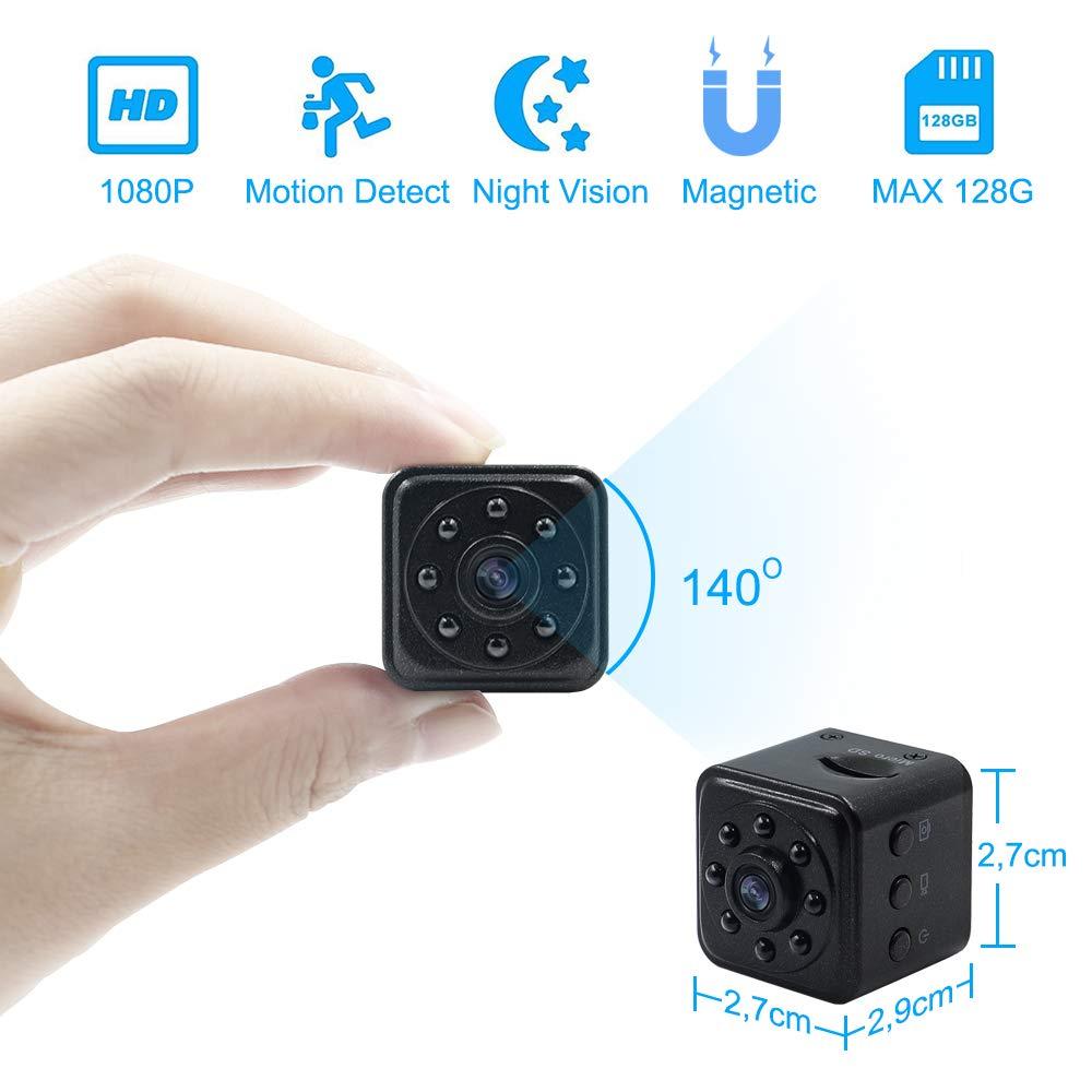 Mini Kamera 1080P HD Tragbare Kleine Ü berwachungskamera Magnet Videokamera TANGMI Mikro Nanny Cam mit Bewegungserkennung und Infrarot Nachtsicht (Unterstü tzt 128G SD Karten)