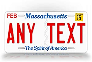 SignsAndTagsOnline Massachusetts Personalized License Plate Custom Any Text MA State Auto Tag