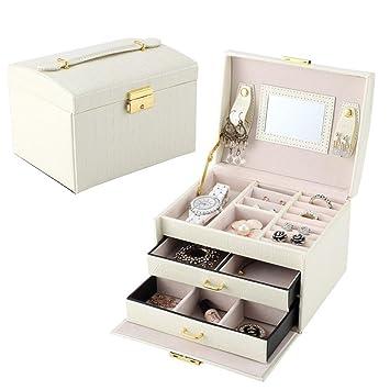 QWER Embalaje de la joyería Caja de ataúd Caja de joyería Exquisita Caja de Maquillaje Organizador