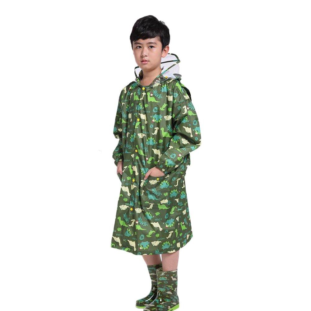 X-grand Maybesky Veste de Pluie pour Enfants Vert Dessin Animé Dinosaur Imperméable Enfants Bébé Imperméable Siamois Poncho Ceinture Sac Imperméable pour Les Filles garçons (Taille   XXXXL)