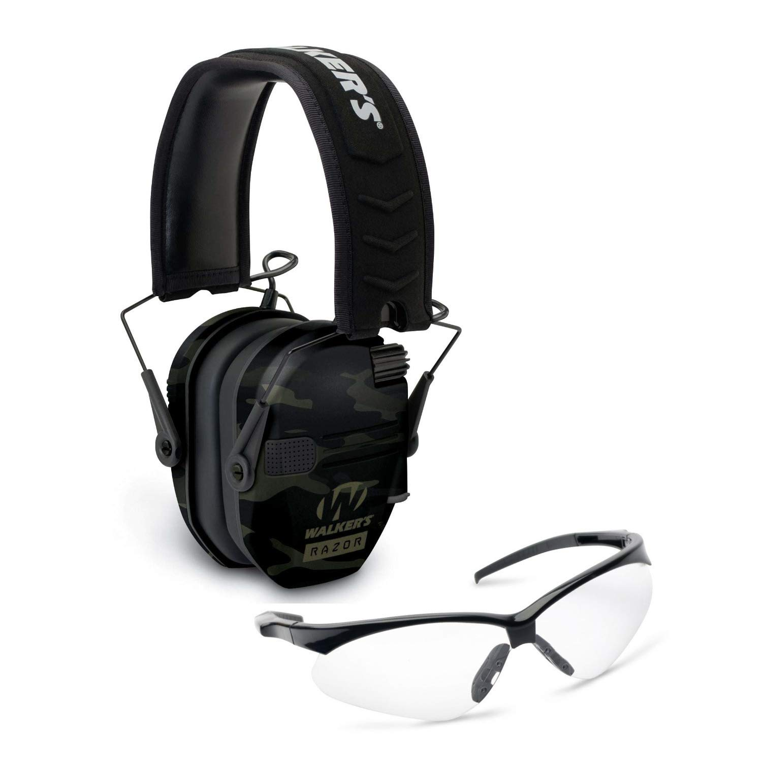 Walkers Razor Slim Electronic Hearing Protection Muffs with Sound Amplification and Suppression and Shooting Glasses Kit, Multicam Camo, Grey by Walkers (Image #1)