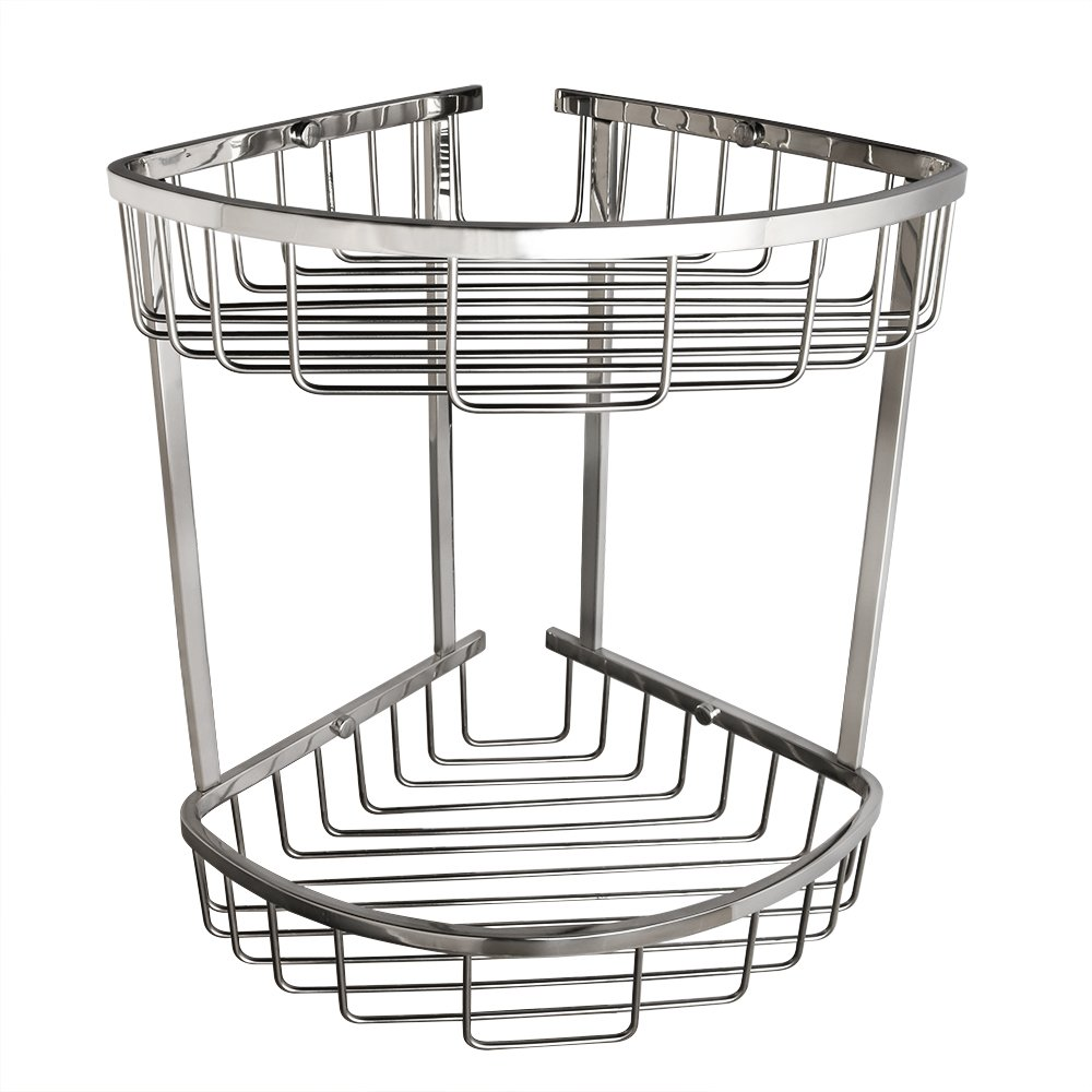 Alise G7162 SUS304 Stainless Steel Bathroom Shower Caddy 2-Tier Corner Basket Storage Shampoo Conditioner Soap-Satin Wall Mount,Polished Chrome