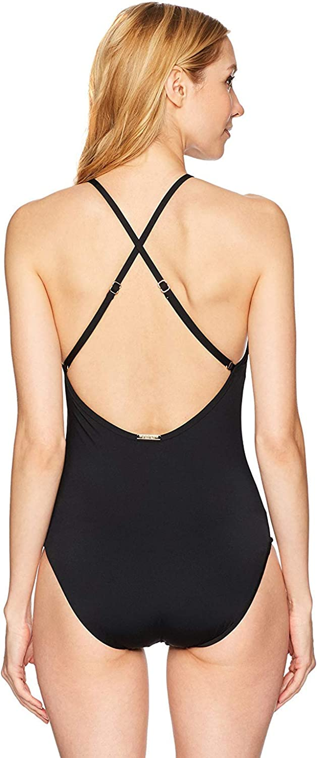 Laundry by Shelli Segal Womens Embroidered High Neck One Piece Swimsuit