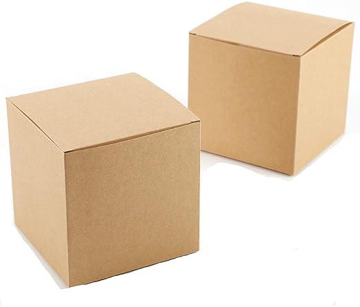 Yalulu - 20 Cajas de Papel Kraft cuadradas de 10 cm x 10 cm x 10 ...