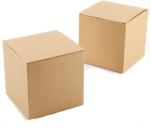 Yalulu - 20 Cajas de Papel Kraft cuadradas de 10 cm x 10 cm x 10 cm, para Regalo de Dulces, Tartas, Regalos para ...