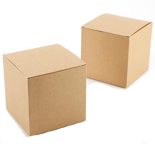 Yalulu - 20 Cajas de Papel Kraft cuadradas de 10 cm x 10 cm ...