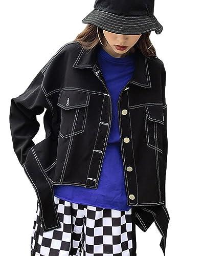Mujer Suelto Manga Larga Chaquetas De Mezclilla Boyfriend Denim Jacket Abrigo