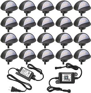 WiFi Deck Lights Kit, FVTLED WiFi Controlled 20pcs Low Voltage LED Step Lights Kit Φ1.97