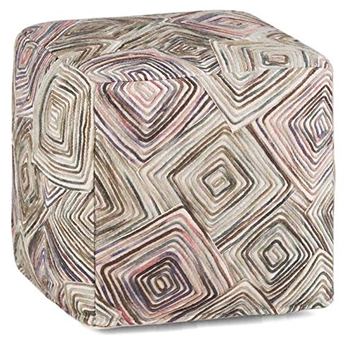 Simpli Home AXCPF-15 Jodi Transitional Cube Pouf in Patterned Multi Color Cotton and Wool, Fully Assembled