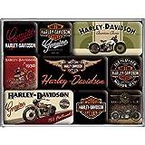 Nostalgic-Art 40361138303 Set di 9 Magneti Harley-Davidson Bikes, Acciaio, Multicolore, 9 x 7 x 2 cm