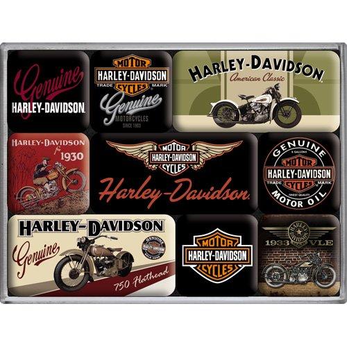 Harley Davidson Bikes Set Of 9 Mini Fridge Magnets (na)