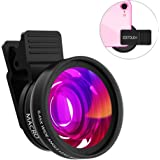 iphone Camera Lens ZOETOUCH 0.45X Super Wide Angle Lens & 12.5X Macro Lens 2 in 1 Professional HD Cell Phone Camera lens Kit for iPhone 7 6S 6S plus 6 5S Samsung Android Smartphones