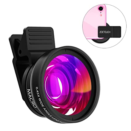 Cell Phone Lens ZOETOUCH 0 45X Super Wide Angle Lens & 12 5X Macro Lens 2  in 1 Professional HD Cell Phone Camera Lens Compatible for iPhone 8 7 6S 6S