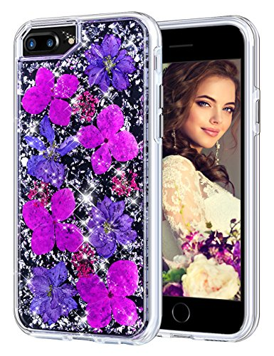 Coolden Case for iPhone 8 Plus Case iPhone 7 Plus Glitter Case with Dried Flower Cute Girly Durable Shockproof 2 Layers Solid PC TPU Cover Case for iPhone 6 Plus 6s Plus 7 Plus 8 Plus, Purple Flower