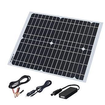 XINPUGUANG 20W 18v Panel Solar flexible Cargador solar monocristalino con DC USB para el yate del coche Barco ligero llevado 12v Batería Camping ...