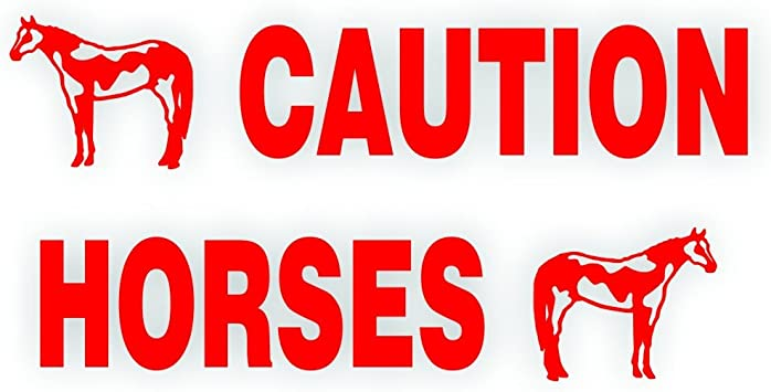 CAUTION Horses On Board Trailer Safety Vinyl Decal