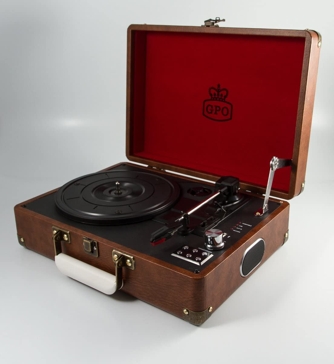 GPO Attache Briefcase-Style Record Player Vinyl Turntable with Built-in Speakers - Vintage Brown