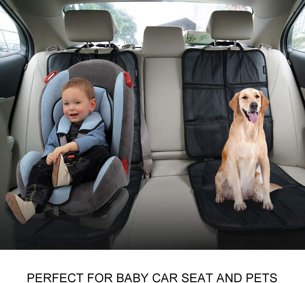 Car Seat Protectors 2 Pack Waterproof Seat Protector with Thickest Padding for Baby Safety Seat or Pet Dirt Resistant Protective Backseat Kick Mat for SUV Trunk Including Storage Pocket Organizer