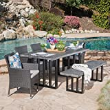 Sophia Outdoor 6 Piece Grey Wicker Dining Set with Grey Oak Finish Light Weight Concrete Dining Table and Bench and Silver Water Resistant Cushions