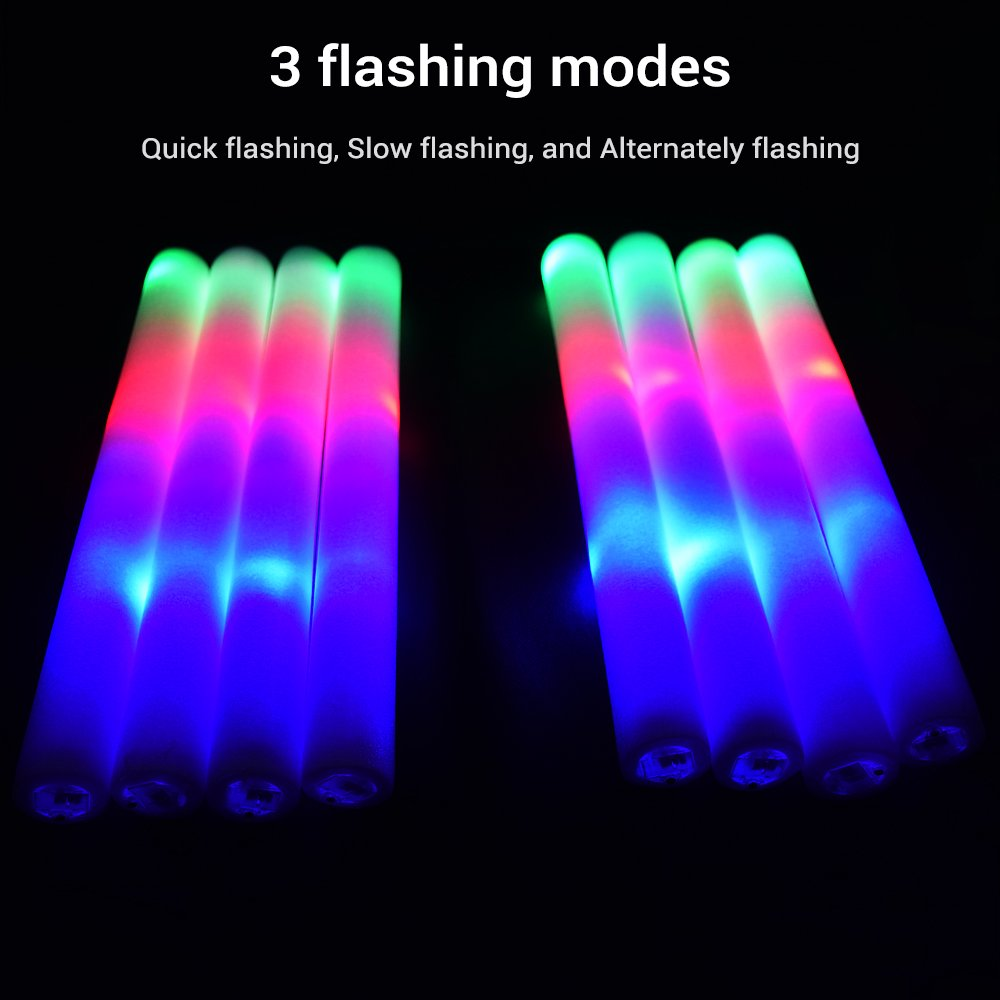 LifBetter 50 PCS/Pack 16'' LED Foam Glow Sticks, 3 Modes Flashing Multicolor Light Up Batons Party Supplies, Festivals, Raves, Birthdays, Children Light Up Toy by LifBetter (Image #2)