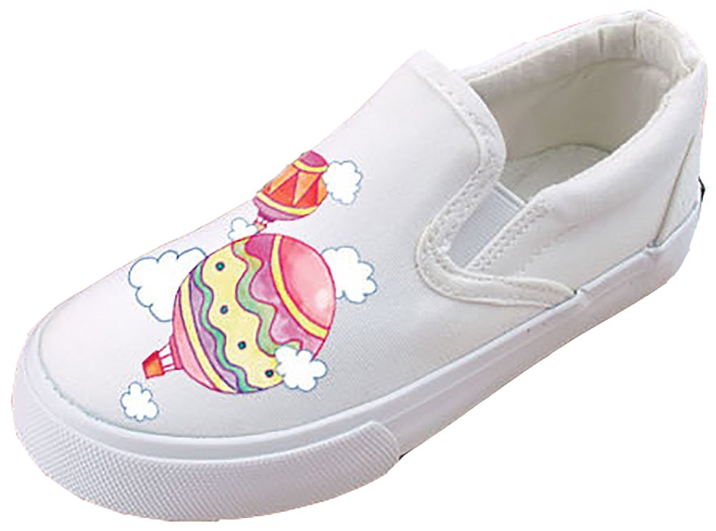 VECJUNIA Boy's Girl's Latest Cartoon Print Waterproof Breathable Fabric Shoes (White2, 2 M US Little Kid)