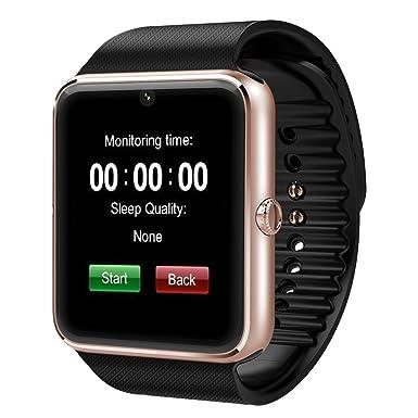 GT08 pantalla táctil ranura Push mensaje mate Bluetooth reloj inteligente para Android teléfono (GT08 oro