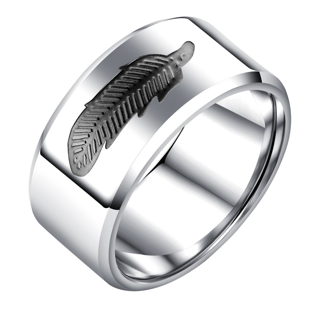 Onefeart Stainless Steel Ring For Men Boy Feather Pattern Smooth Design Black US Size 8 Fashion Wide Ring