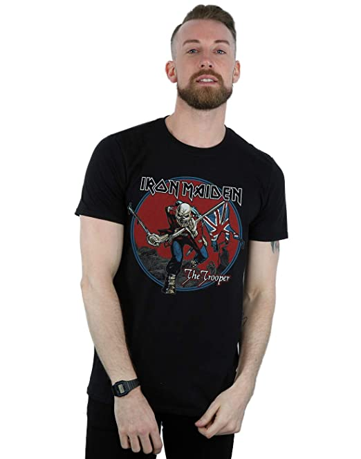 Iron Maiden Hombre Trooper Red Sky Camiseta: Amazon.es: Ropa y accesorios