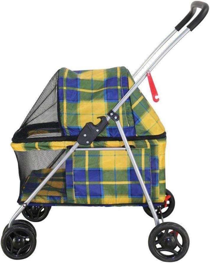 Cochecito para Perro, Carrito Carro Silla Mascota para Caminar 4 Ruedas Al Aire Libre para Perro Discapacitado Carretilla Gato Plegable De Bebe (Color : Amarillo)