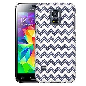 Samsung Galaxy S5 Mini Case, Slim Fit Snap On Cover by Trek Purple Greey Broken Chevrons White Case
