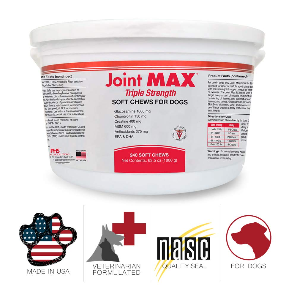 PHS Joint MAX Triple Strength (TS) Soft Chews for Dogs - Glucosamine, Chondroitin, MSM - Vitamins, Minerals, Antioxidants- Hip and Joint Pain Relief and Support for Dogs - Made in USA - 240 Soft Chews by Pet Health Solutions