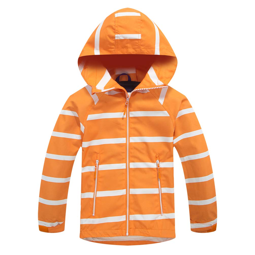 TLAENSON Boys Girls Windbreaker Fleece Lined Light Waterproof Jacket Orange 6-7T