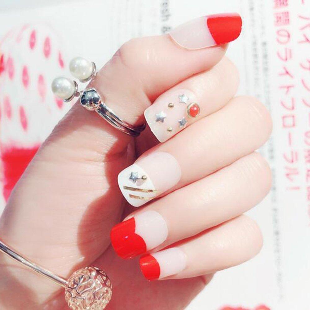 MENILITHS 24pcs 3D Red False Nails Bling Glitter Fake Full Nail Tip Rivet Decor Nail Art Tips with Adhesive Tab for Women and Girls