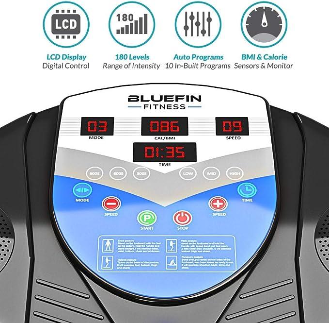 Pro Modell Bluefin Fitness Vibrationsplatte Verbessertes Design mit Leisen Motoren und Eingebauten Lautsprechern