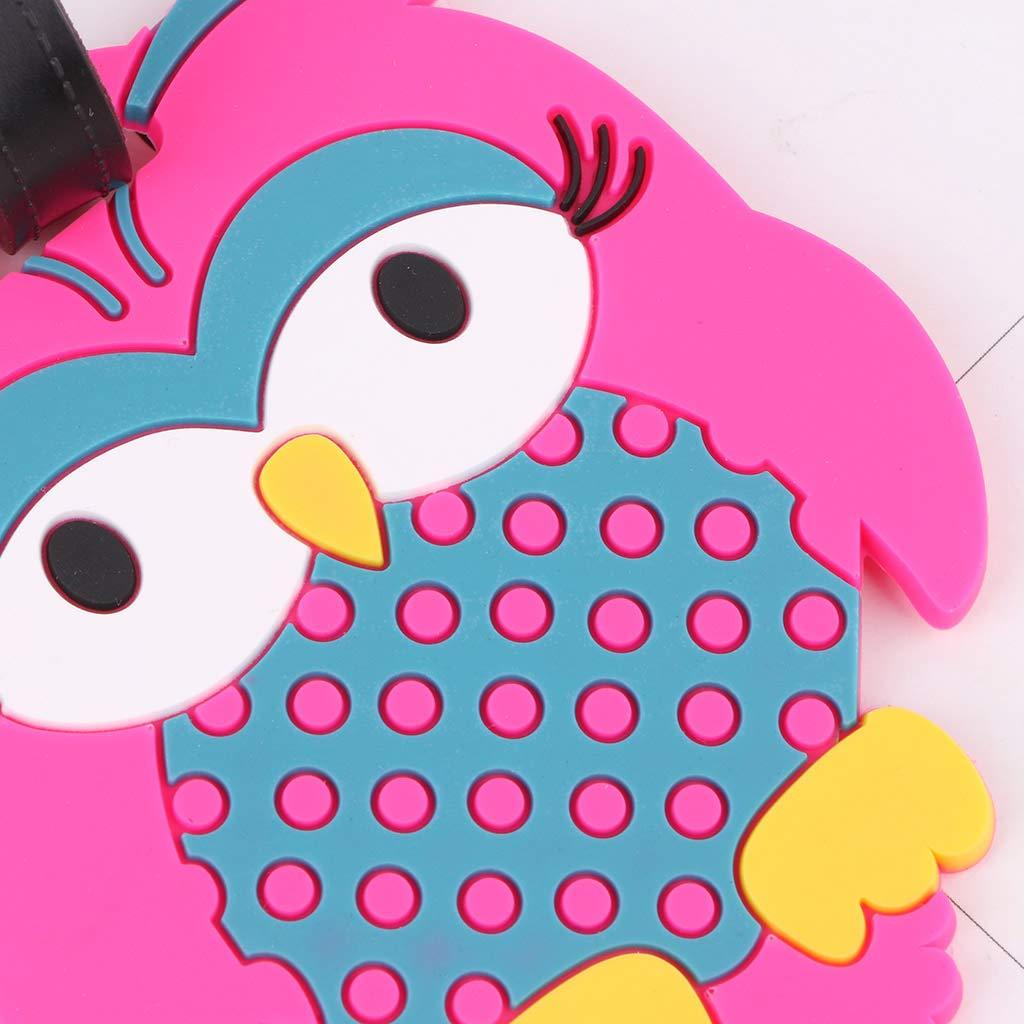 Rose Vif Rtengtunn Cartoon Owl Travel Etiquettes De Bagages Baggage Valise Bag Etiquettes Nom Adresse Identifiant du Titulaire