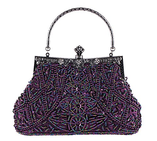 Top Handle Bag Clutch Vintage Wedding Bead Pearl Embroidery Hand Prom Purple Formal Evening w4q6ZgU