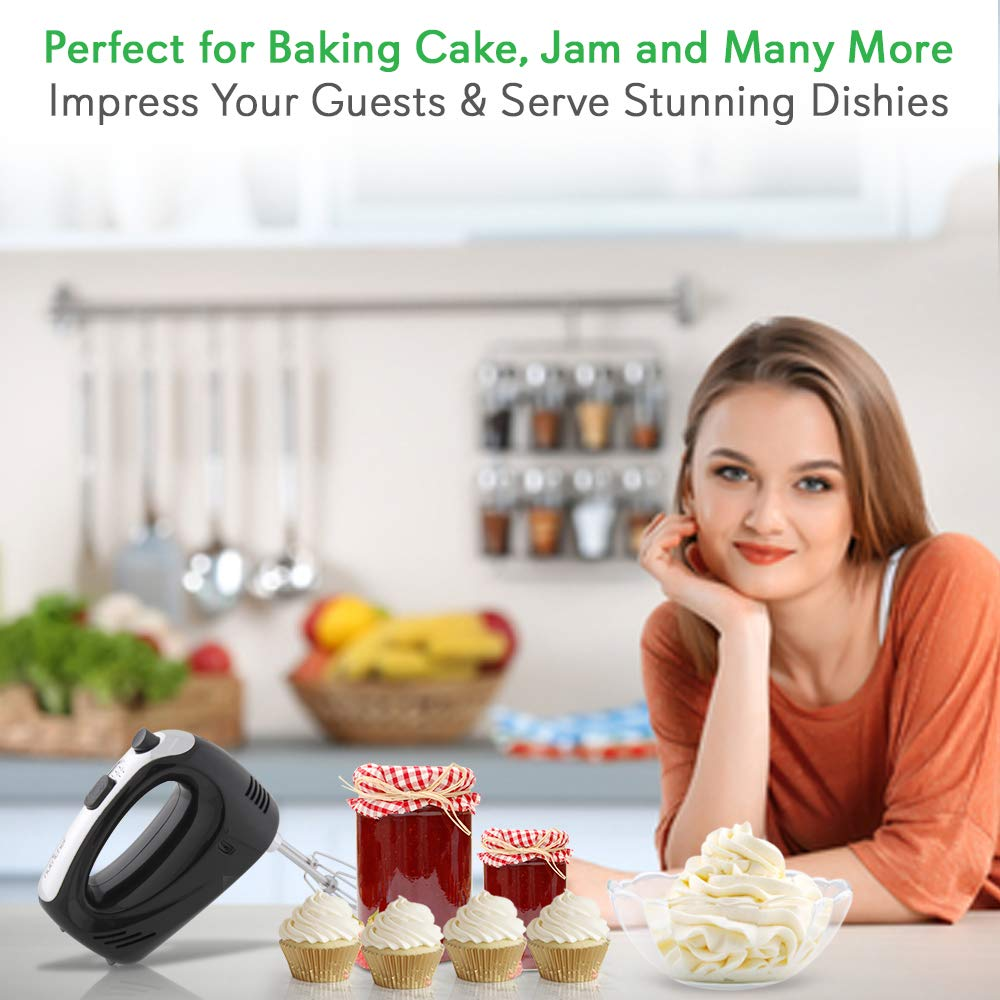 NutriChef B0012S8NWQ Electric Cordless Kitchen Hand Mixer - Portable Handheld Rechargeable Stainless Steel Whisk Machine with 3 Speed Settings - for Egg, Cake, Dough, Glue, 1, Black by NutriChef (Image #6)