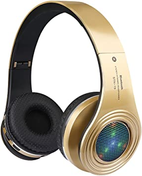 Amazon Com Bluetooth Headphones Wireless Over Ear Led Light Up Headset With Mic Stereo Sound For Cellphone Tablets Computer For Kids Children Boy Adult Gold Electronics