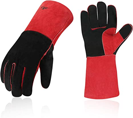 1 x Welding Gloves Long Leather Gaunlets Heat Resistant Lined MIG ARC Welders by All Trade Direct