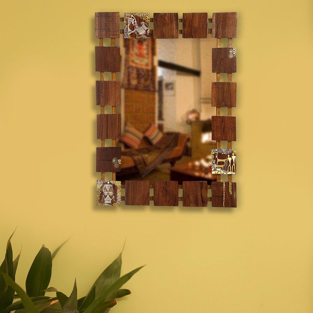 Buy ExclusiveLane Wooden Wall Mirror with Warli Art - Wall Hanging ...