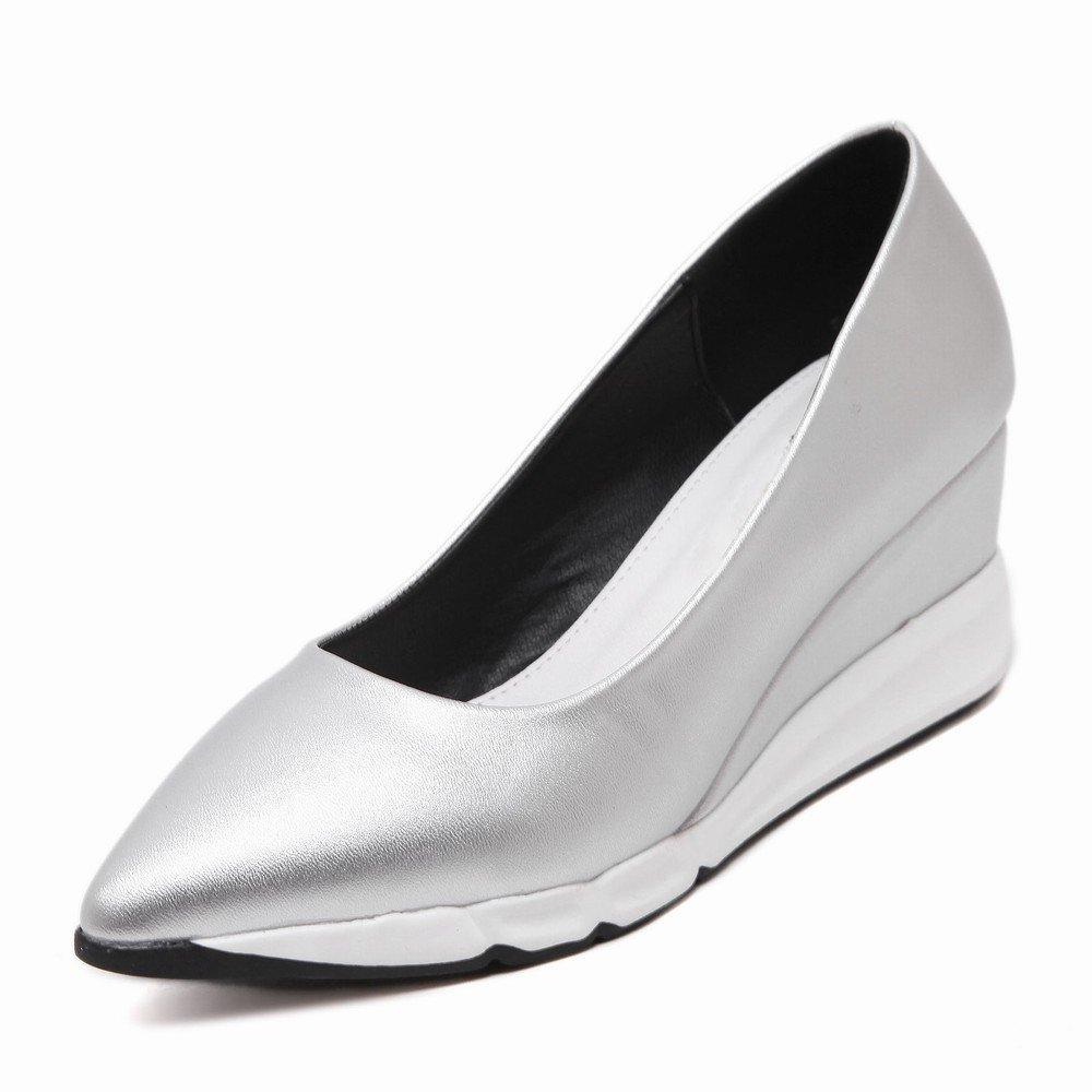 DHG Plattfußbodenschuhe der Frühlings-Europäischen Plattform Plattform Plattform Kippen Spitze mit Einzelnen Weiblichen Hohen Absatzschuhen der Schuhe Silber- 37 6ba1ae