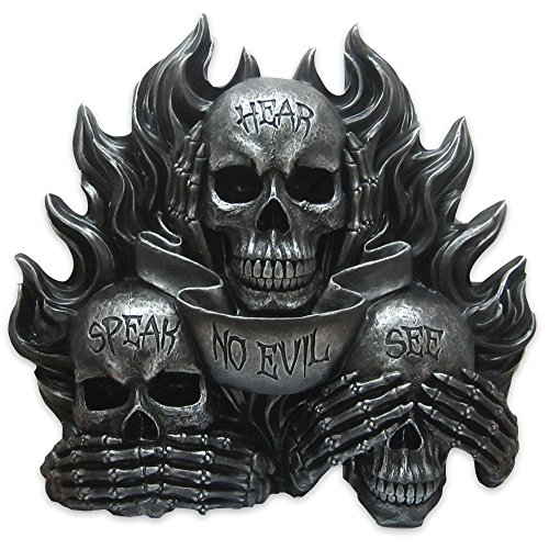 Flaming Skeleton (See Hear and Speak No Evil Wall Mounted Gothic by DWK | Flaming Skulls | Gothic Skeleton Wall Furnishings and Home Decor or Halloween Decoration)