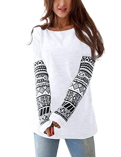 9f255e9d41bef9 ISASSY Women s Casual Loose Long Sleeve Printed Round Neck Tee T-Shirt Tops  Blouse White