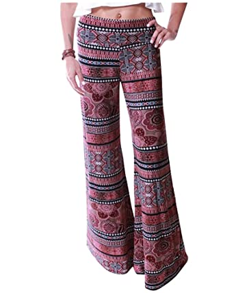 Womens Plus Size Plain Printed Palazzo Wide Leg Flared Ladies Trousers Pants