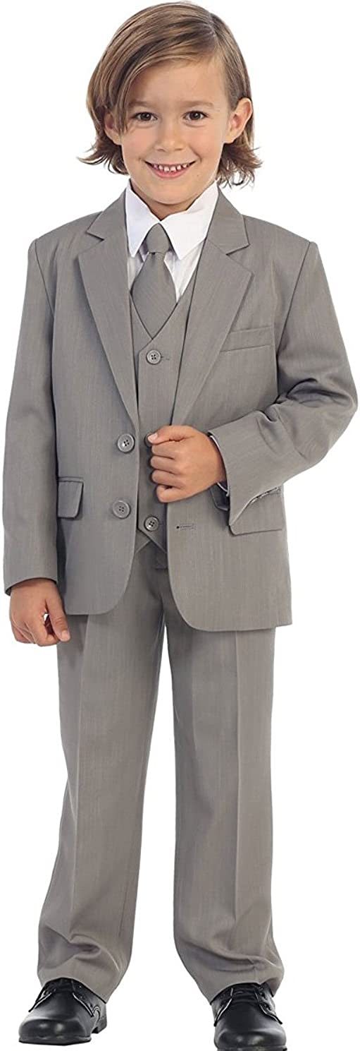 TipTop Kays BTQ Baby Toddler Boys 2-Button 5-Piece Suit Gray Size 6M-4T