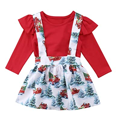 ab7fe6bfe Amazon.com: Christmas Baby Girls Ruffle Romper Floral Suspender Strap  Toddler Skirt Sets: Clothing