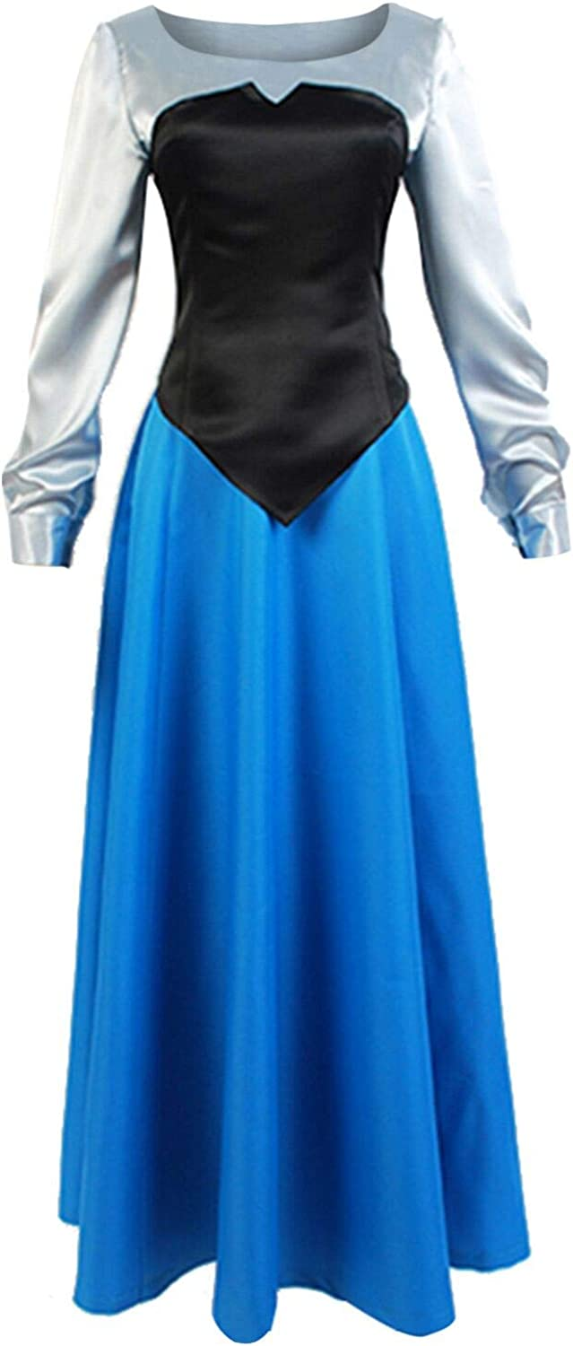 Womens Adult The Little Mermaid Princess Ariel Cosplay Costume Blue Outfit Dress