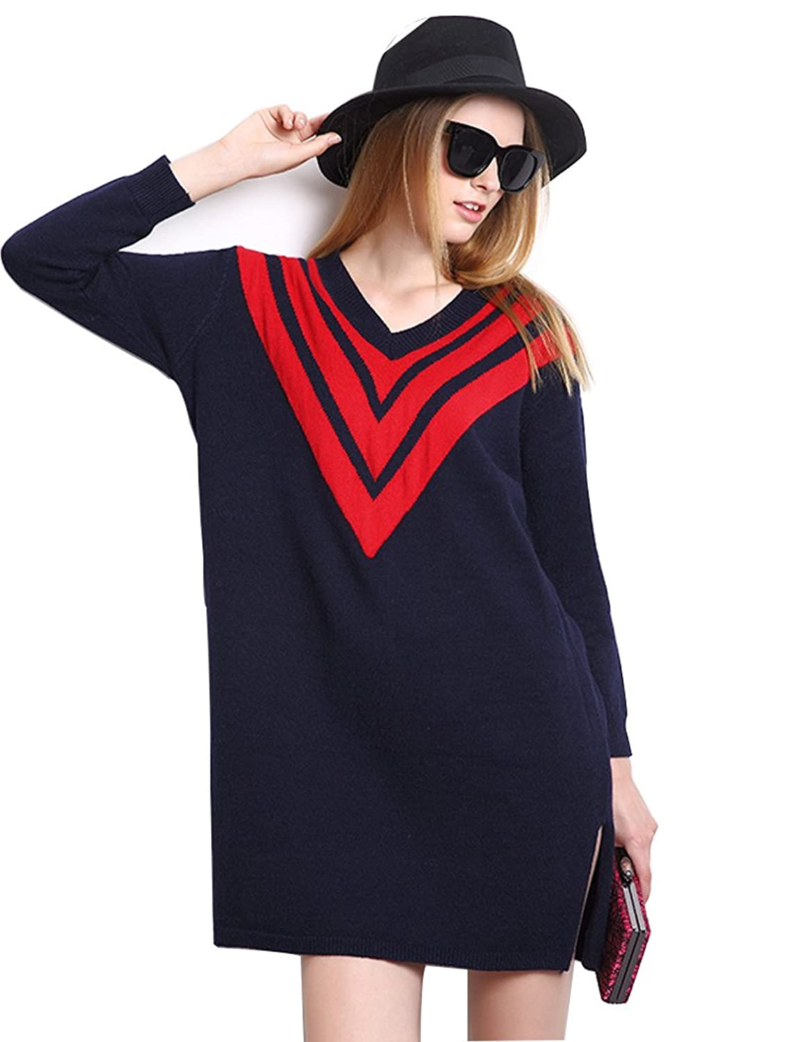 Secrect Armoire Women's Loose V Neck Jacquard Long Sweater Knit Dress