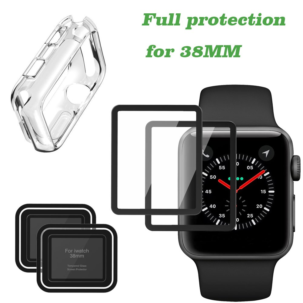 Apple Watch Screen Protector [2-Pack] and Apple iWatch Case for Series 3/2, Full Coverage Iphone Watch Tempered Glass Screen Protector (38mm)