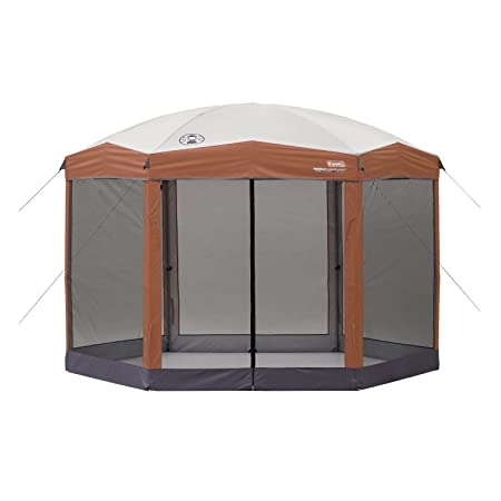 Fast Furnishing Instant 12ft x 10Ft Hexagon Screened Canopy Gazebo with Removable Insect Screen